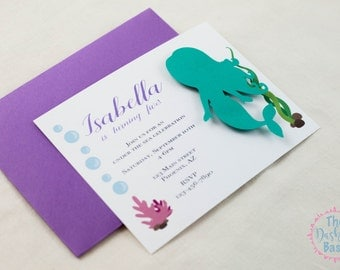 Mermaid | Under the Sea Embellished Birthday Party Invitations - Set of 8+