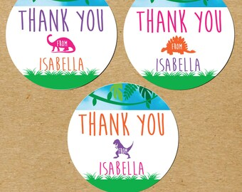 Girl Dinosaur Party Favors, Pink Dinosaur Birthday Favor Stickers, Pink Dinosaur Party, Girl Dinosaur Birthday Stickers, Personalized Dino