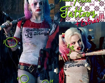 Harley Quinn (Margot Robbie) Suicide Squad Replica Tattoos! |DIGITAL DOWNLOAD| Hand drawn Cosplay accessories.