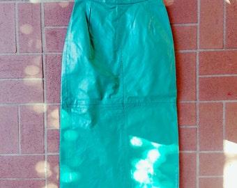 Vintage Teal Leather Midi Skirt, Vintage Leather Skirt, Teal Leather Skirt, Highwaist Skirt, Midi Length Skirt, Teal Skirt, Long Green Skirt