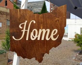 Wood Ohio Sign, Ohio Home Sign, State of Ohio Wood Sign