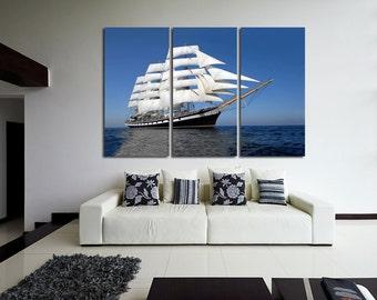 Frigate Wall Art Multi Panels Set Ship Wall Art Frigate Canvas Art Fleet Wall Art Ship Print Poster  NAVY Multipanel