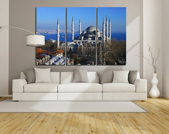 Large Wall Istanbul Canvas Color Cityscape Multipanel Canvas  Art Large Istanbul 1-3-4-5 Panel Cityscape Print
