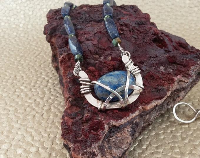 Lapis Lazuli Modern Southwest sterling silver gemstones pendant necklace