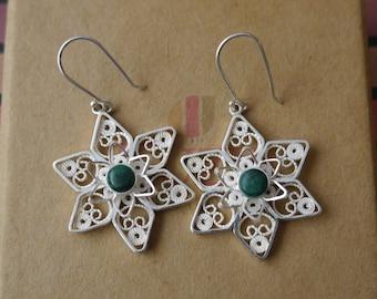 Flower Earrings  Peruvian Silver Filigree Hand Made