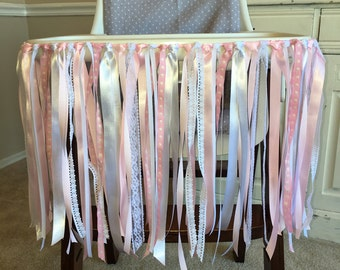 Pink, White and Lace Ribbon Banner, High Chair Banner