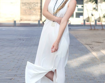 White minimalist maxi dress - Loose white long dress - Casual urban dress