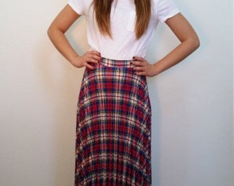 50s Pleated Plaid Maxi Skirt. High Waisted Wool Long skirt. Blue Red Yellow Plaid Skirt. Preppy. Size medium.