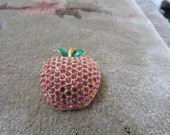 Laurie Forbidden Fruit Vintage Pink Rhinestone Pave Set Apple Brooch Teacher Gift