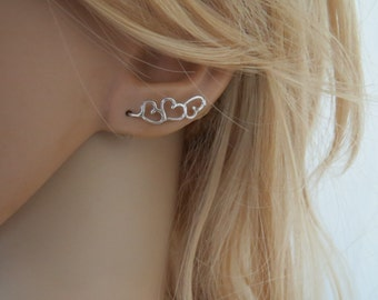 Sterling silver ear cuff, Ear climber earrings, Ear sweeps, Silver heart earrings, Up the ear earrings