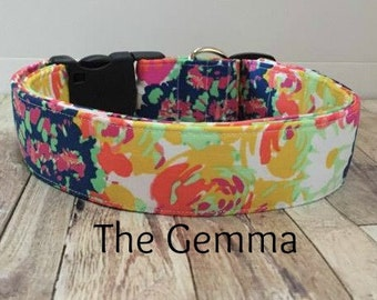 "Floral Multicolor Navy Green Pink Yellow Orange Dog Collar ""The Gemma"""