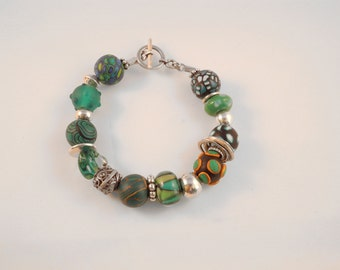 """""""BOLLYWOOD"""" Emerald and silver bracelet"""