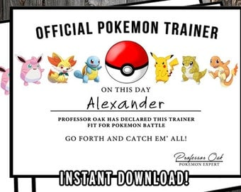 Pokemon Certificate, Pokemon Birthday Printable, Pokemon Birthday Favors, Pokemon Party Favors, Pokemon GO, PDF & Jpg - Editable PDFs!