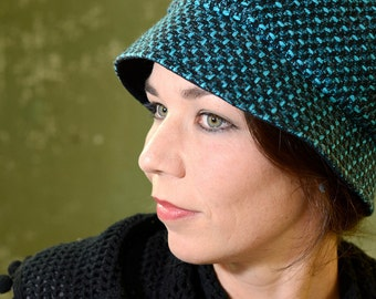 Turquoise-black Cloche hat, elegant in the style of the 1920s, Gr. 60 cm