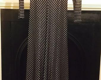 Gold and black stripe 1970's vintage dress