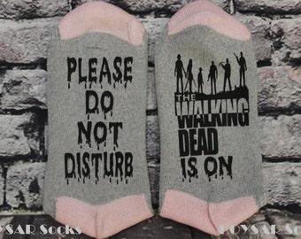 Walking Dead, Socks, TWD Socks, Please Do Not Disturb, The Walking Dead Is On, Customized Socks