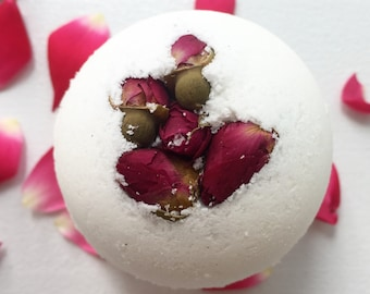 Handmade Rose Bath Bomb - Gift For Her - Aromatherapy - Bridal Shower Gift - Bridesmaid Gift - Bath Fizzie - Baby Shower Favors