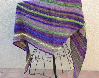 Hand Knit with Handspun Yarns Shawl/Wrap in Purples and Greens