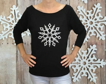 Christmas shirt, glitter snowflake shirt, holiday shirt, Christmas shirt for her, quarter sleeve Christmas shirt