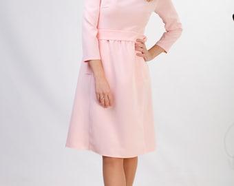 Pale pink pencil dress with pockets Pink dress midi Blush dress midi Office dress Cute dress women Retro dress women Blush pink dress