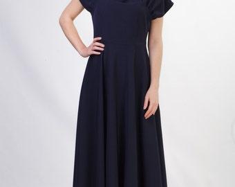 Long navy blue formal dress Dark blue evening dress Navy bridesmaid dress Modest bridesmaid dress Long bridesmaid dresses