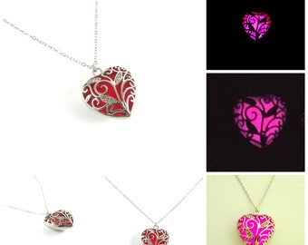 Pink Glowing Heart Necklace Glow in the Dark Necklace
