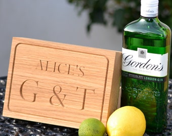Gin & Tonic Board - solid oak - Customise!