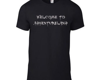 "Mens Black T Shirt with ""Welcome to Adventureland"" Screen Printed in White"
