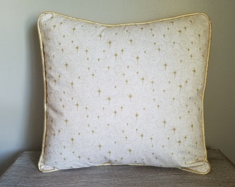 Holiday Decorative Throw Pillow Cover Cream with Mini Glitter Snowflake  Gold and Cream, Decorative Throw, Toss Pillow, Pillow Cover 18x18