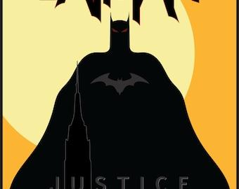 "Batman ""JUSTICE""  Yellow, Printable, Wall Decor, Batman Poster, Batman Print, Batman, Batman minimalist poster"
