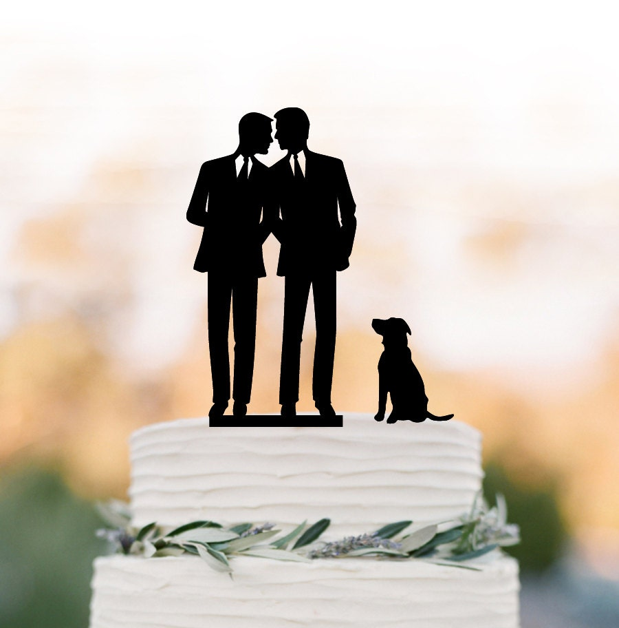 Gay Wedding Cake Topper With Dog Gay Silhouette Wedding Cake