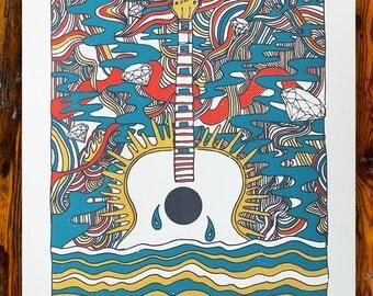 Psychedelic Guitar / Screenprinted Art Print