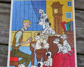 Vintage Disney 1010 Dalmations Cardboard Frame Tray Jigsaw Puzzle Golden 4198A-1