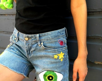 Space Case Hand Embroidered Levis Tattooed Shorts Alien UFO Eye Outta This World