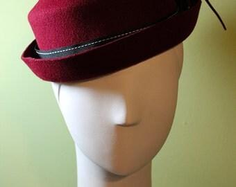 Women's Burgundy Porkpie Fall / Winter Wool Hat - Medium - OOAK