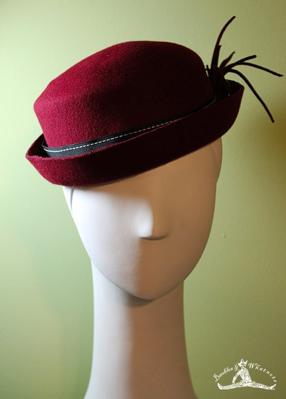 Women's Burgundy Porkpie Fall / Winter Wool Hat - Medium - OOAK