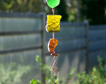 Sun Catcher Wind Chimes Sea Glass with Brass Chimes beach glass stained glass windchime
