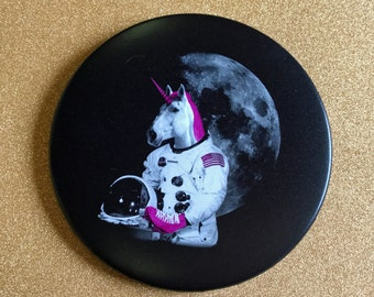 GIANT Magnet - Roller Skating Unicorn Astronaut 3.5 Inch Magnet - Roller Derby, Fridge Magnet, Refrigerator Magnets, Unicorn Magnet