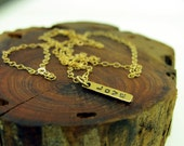 Gold Necklace, Hand Stamped LOVE charm made in 14ky gold
