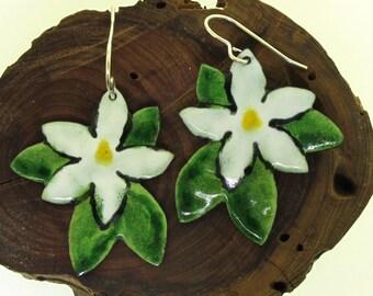 Magnolia Blossom Earrings, flower earrings, southern magnolia flower, enamel earrings, glass enamel on copper by Kathryn Riechert