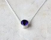 Amethyst Necklace, Birthstone Slide, Sterling Silver Necklace, February Birthstone, Minimalist Jewelry, Faceted Gemstone, Layering Piece
