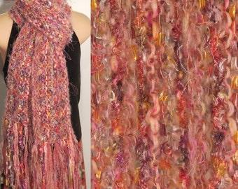 Hand Knit Gypsy Scarf pastel pink yellow salmon gray boho