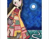 Girls room cat A3 art print patchwork dress mixed media nursery childrens wall decor whimsical folk style inspirational picture dreamwalker