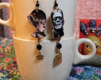 Frankenstein and Bride of Frankenstein Earrings Movie Monsters Halloween Kitsch