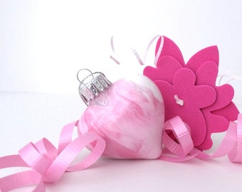Hand Painted Ornament - 2 Inch Glass Pink Heart Gift Keepsake - Breast Cancer Awareness - Christmas handmade ornaments