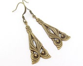 Art Deco Earrings, Dangle Earrings, Art Nouveau Style, Antiqued Gold Brass Earrings, Bridesmaid Gift, Bridal Jewelry, Wedding Jewelry