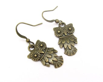 Owl Earrings, Antiqued Bronze Gold Tone Owl, Dangle Owl Earrings, Bird Watcher, Bird Earrings, Bohemial Earrings, Petite Dangle Earrings