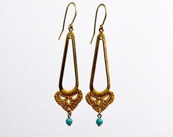 Marigold Teardrop Cutout Earrings (MOSS_056B)