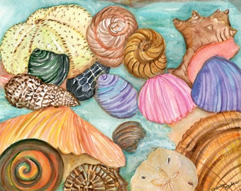 Shells watercolor painting original, Seashells Painting, 8 x 10 water color painting of seashells, beach decor, cottage decor art