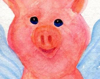 ACEO Flying Pig Watercolors Paintings original - whimsical flying pig art - pig with wings art card, original watercolor painting